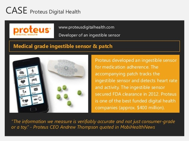 Ingestible sensors from Proteus.