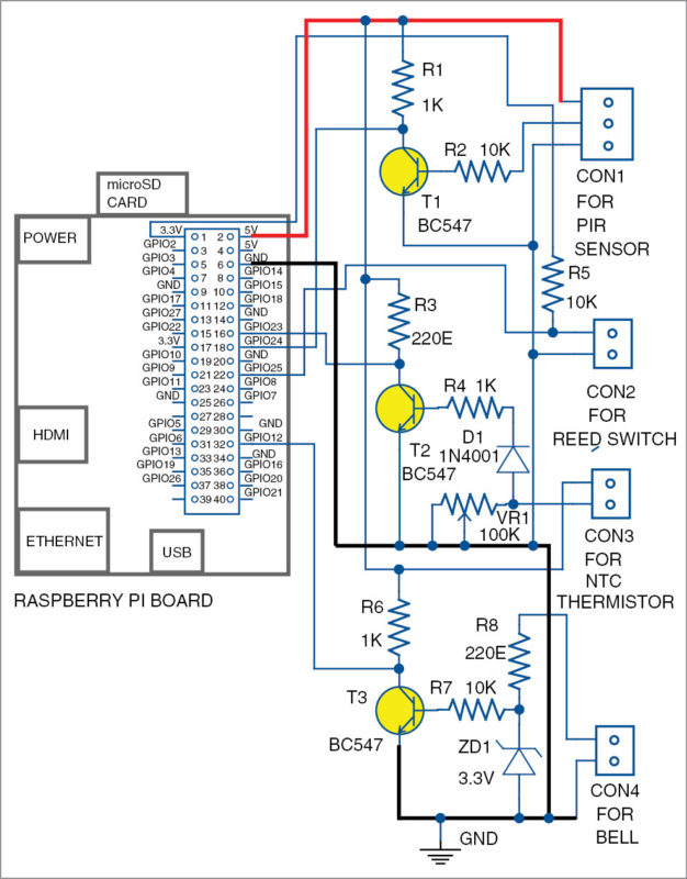 Circuit of the IoT based notification system using RPi